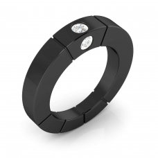 Anells de Compromis en or negre 18k 3 diamants