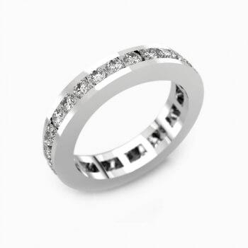 Anells de Compromis en or blanc 18k amb diamants pave