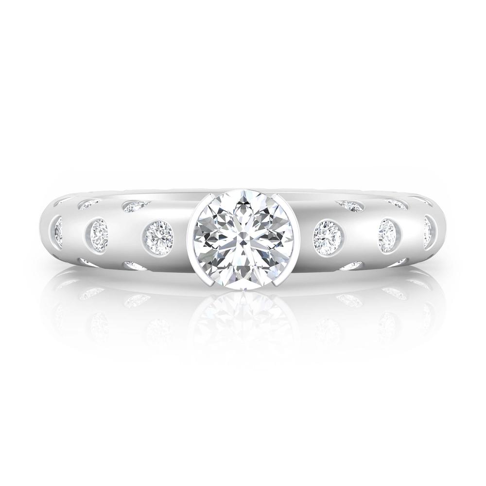 Anillo de compromiso de oro blanco y 56 diamantes