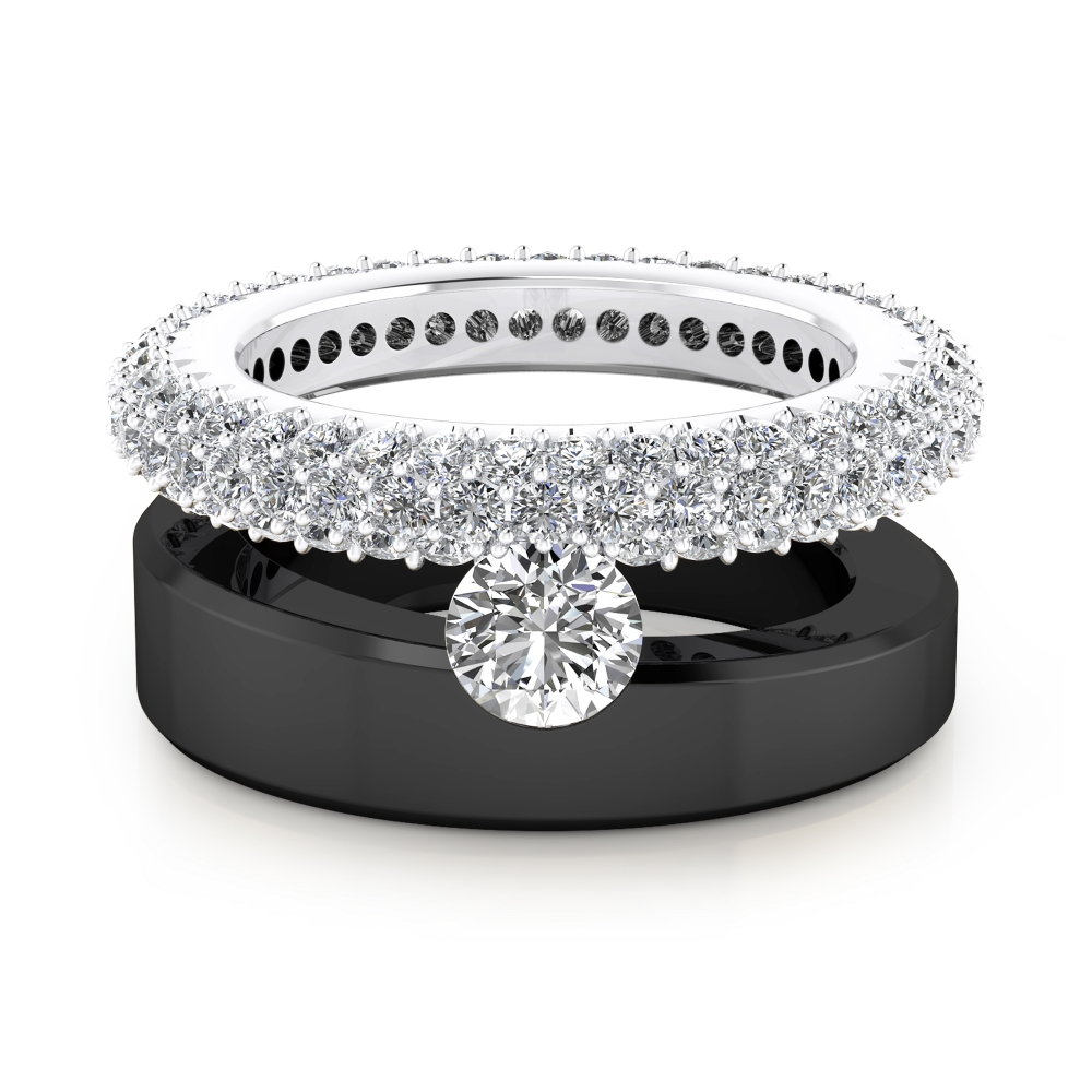 Anells de Compromís en or blanc i negre 18k 121 diamants