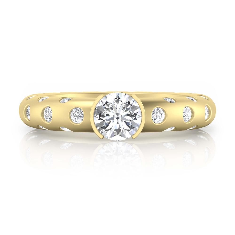 Anillo de compromiso de oro amarillo y 56 diamantes