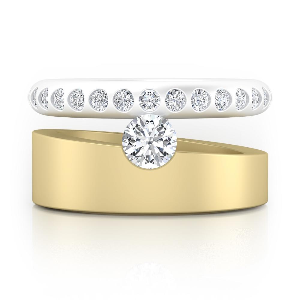 Anillo de compromiso de oro amarillo y blanco con 28 diamantes