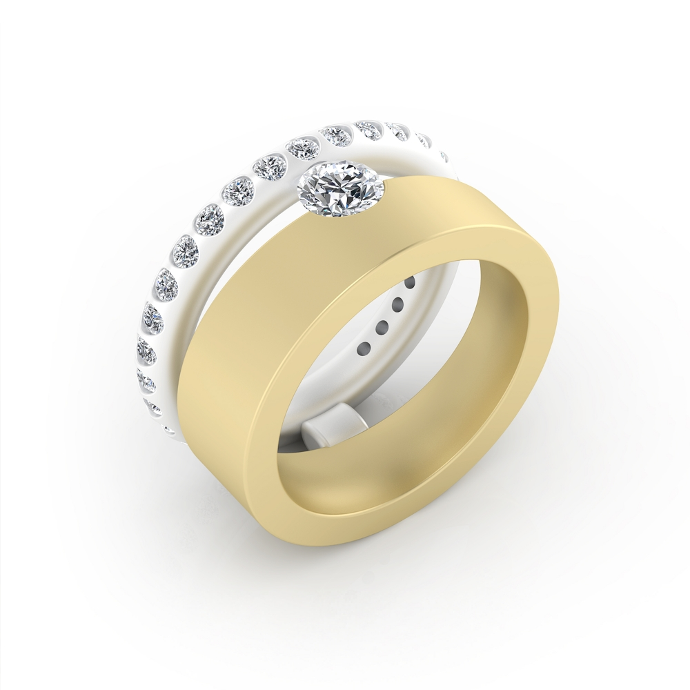 foto de perfil de Anillo de compromiso de oro amarillo y blanco con 28 diamantes