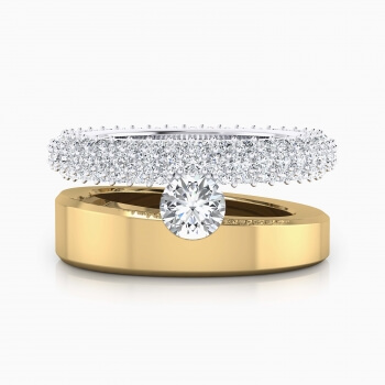 Anells de Compromis en or groc i blanc 18k 121 diamants