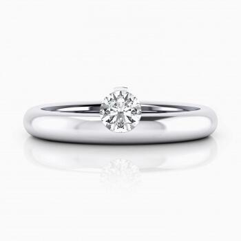 Anells  de Compromís, or blanc amb 1 diamant central