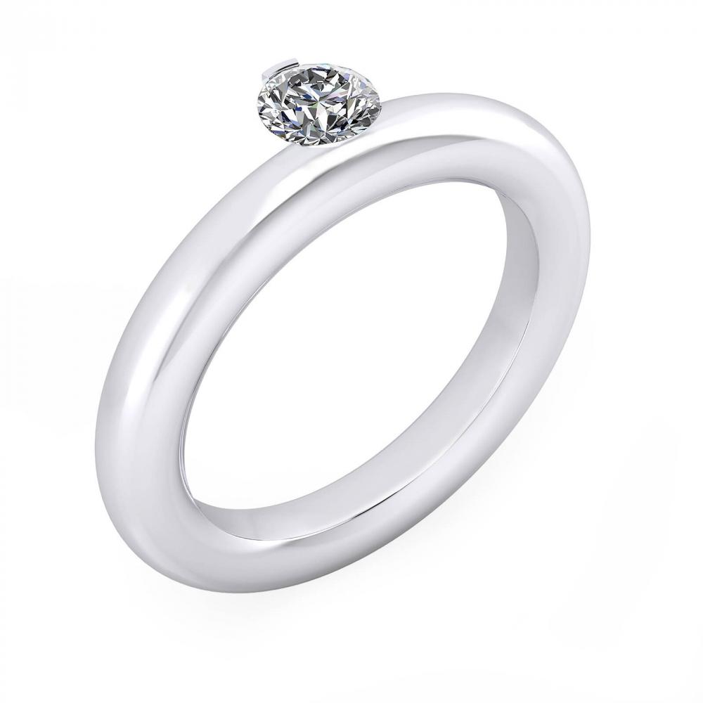 foto de perfil de Alianza de compromiso redondeado oro blanco y diamante central