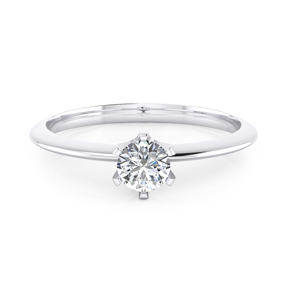 Anell de compromís or blanc amb 1 diamant talla brillant