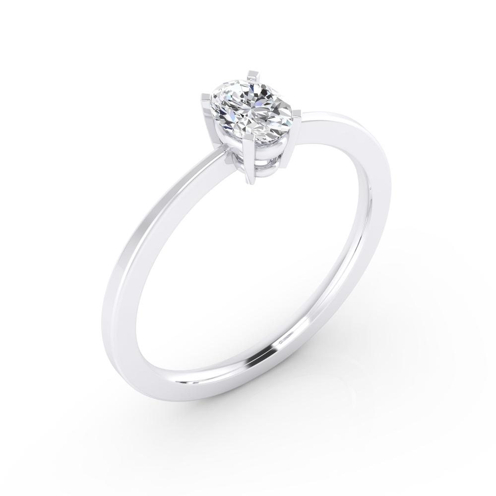 Solitari d'or blanc de 18 q., amb un diamant talla oval.