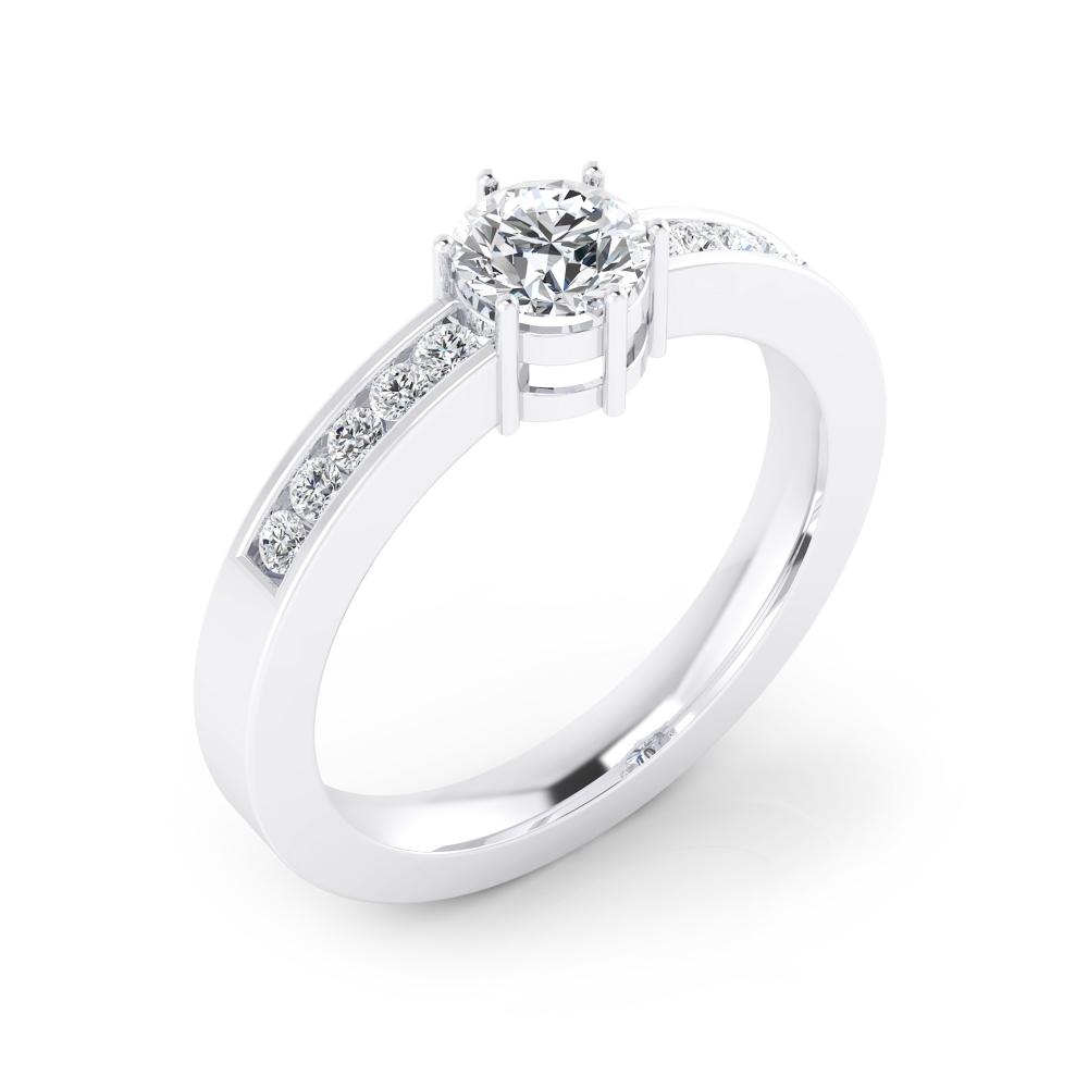 Anell de Compromís or blanc amb 10 diamants i 1 diamant talla brillant.