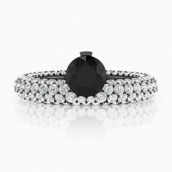 Anells de Compromís de or blanc 143 diamants amb diamant negre