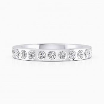 Anells de Compromis or blanc 18k amb 14 diamants