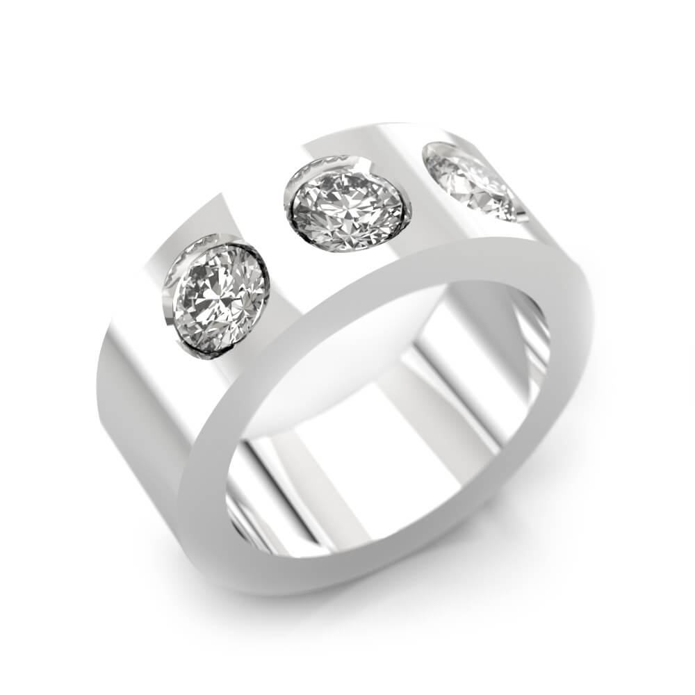 Anells de Compromis or blanc 18k amb 3 diamants