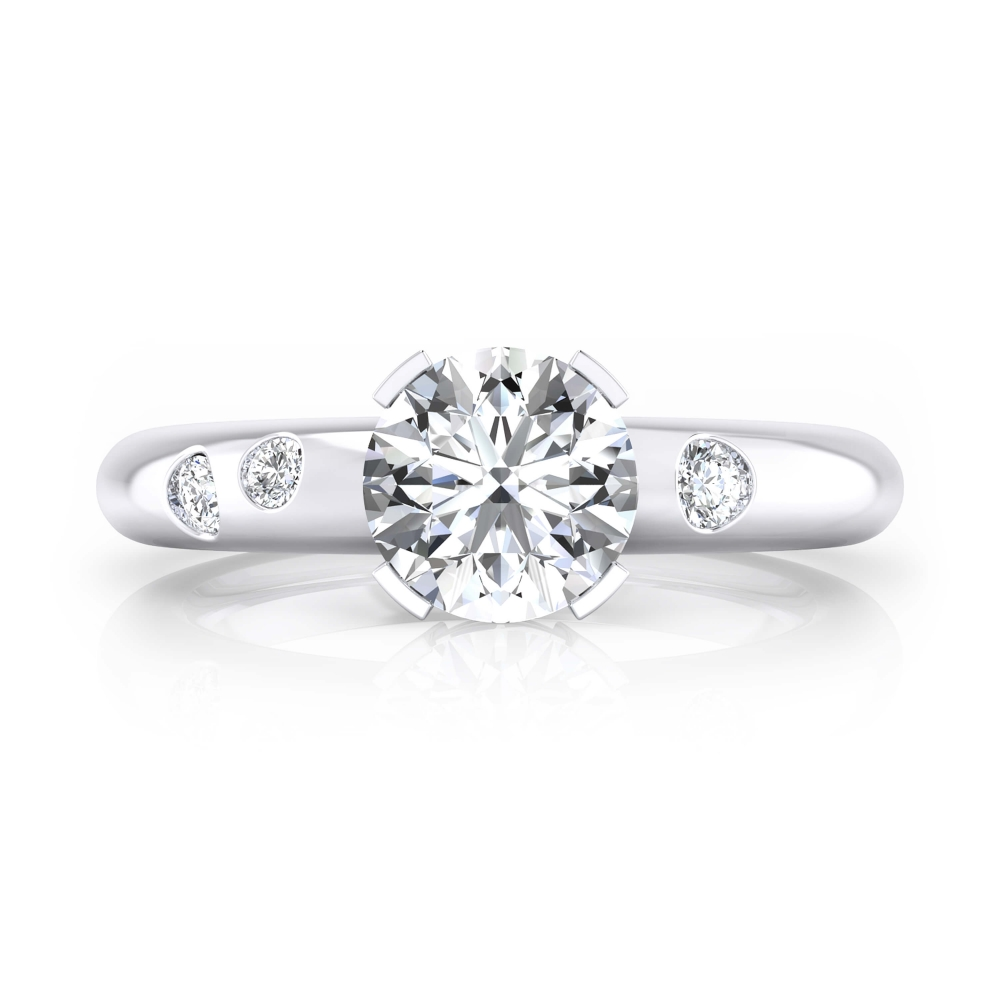 Anillo de compromiso oro blanco y 4 diamantes