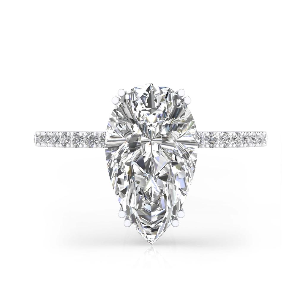 foto frontal de Anillo de compromiso de oro blanco y 40 diamantes con diamante talla Pera