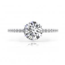 Anell de Compromís or blanc amb 40 diamants i 1 diamant talla brillant