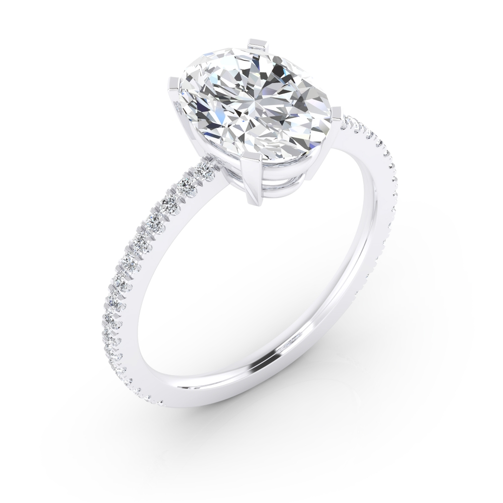 Exclusiu solitari d'or blanc de 18 q., amb un diamant central talla oval