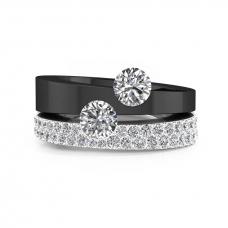Anells de Compromís or negre i blanc amb diamants i 2 diamants centrals