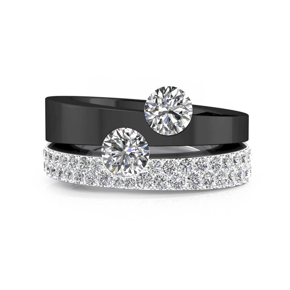 Anillo de pedida de oro blanco, negro y diamantes
