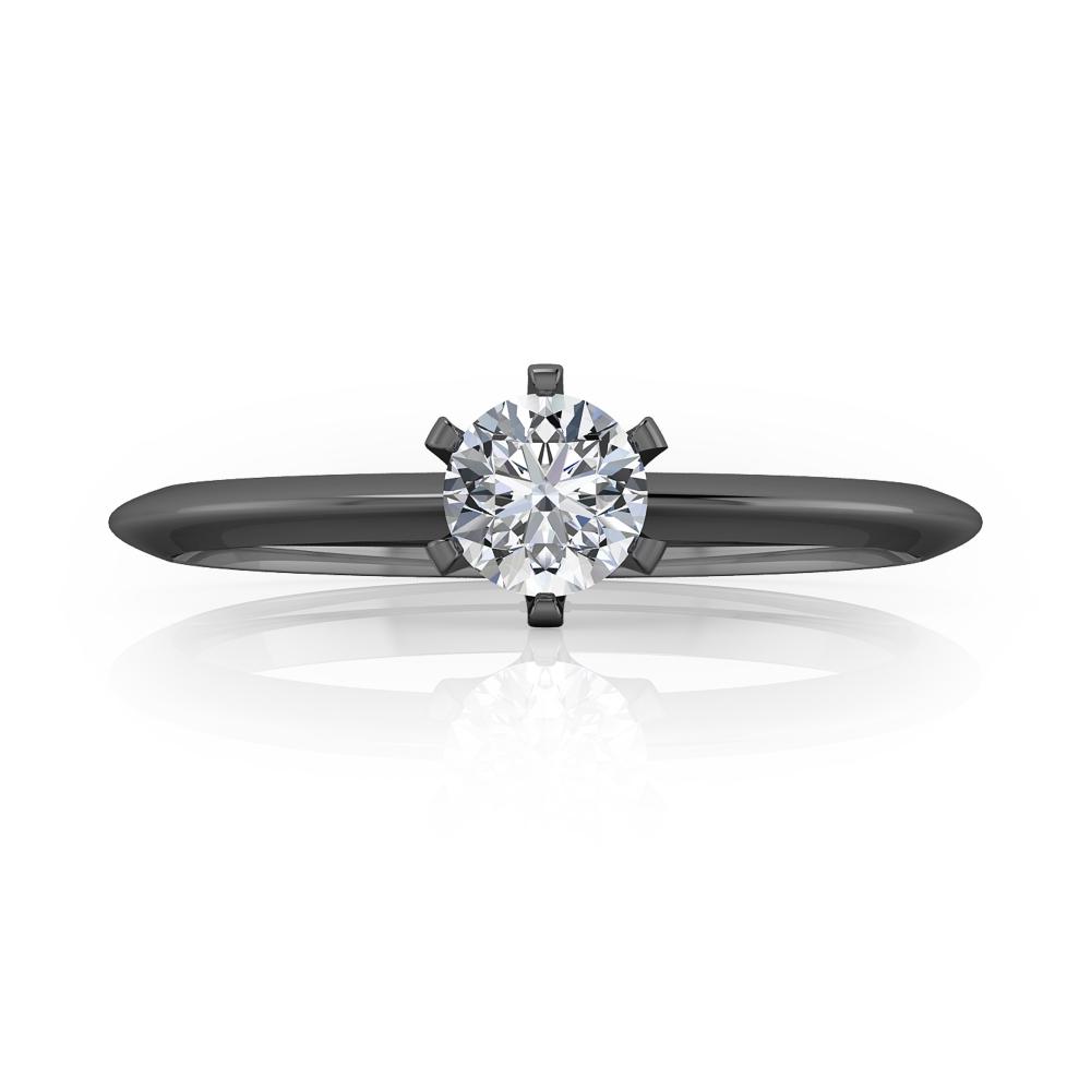 Anell de Compromís or negre amb diamant talla brillant.