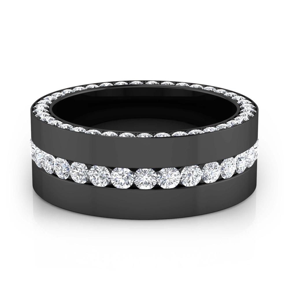 Anillo de compromiso de oro negro y 113 diamantes