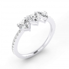 Anells de Compromís or blanc 18k amb 3 diamants talla Cor