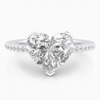 Anells de Compromís or blanc 40 diamants 1 diamant talla Cor