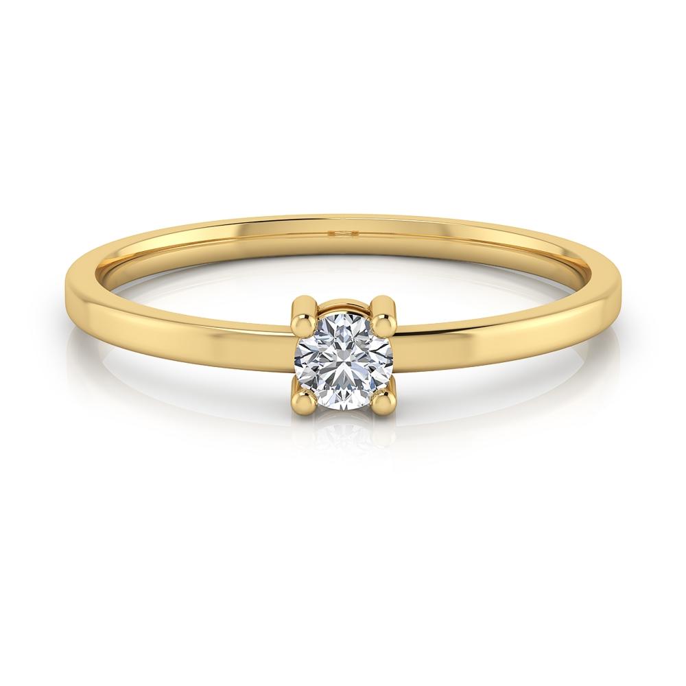 Solitari de compromís d'or groc de 18kt, braços estilitzats i diamant talla brillant.