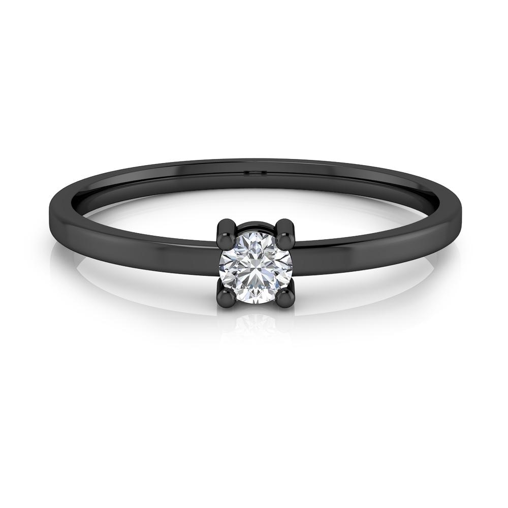 Solitari de compromís d'or negre de 18kt, braços estilitzats i diamant talla brillant.
