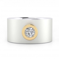 Anell de Diamants or blanc 18k amb muntura or groc