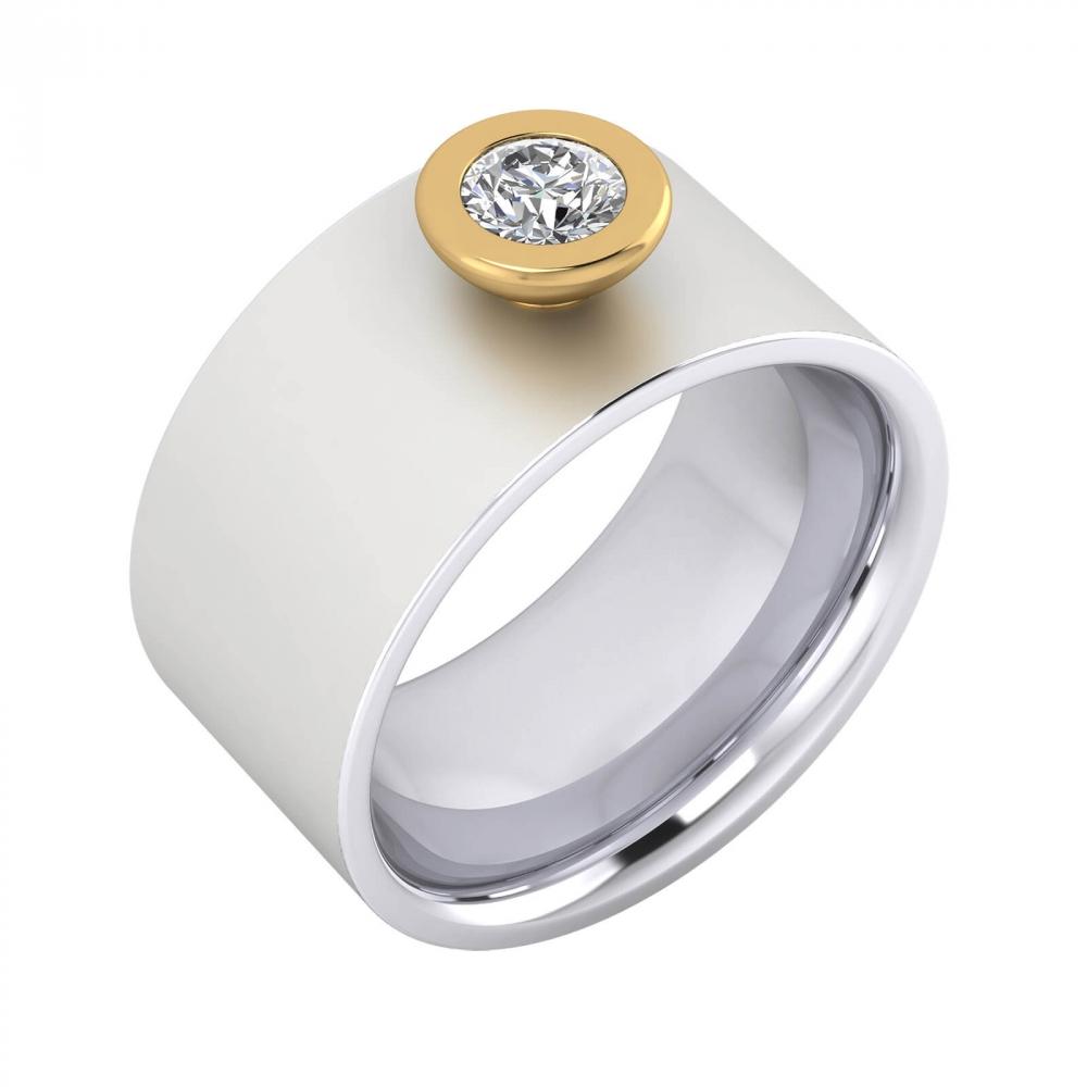 Foto de perfil de anillo de diamante de oro blanco y montura de oro amarillo
