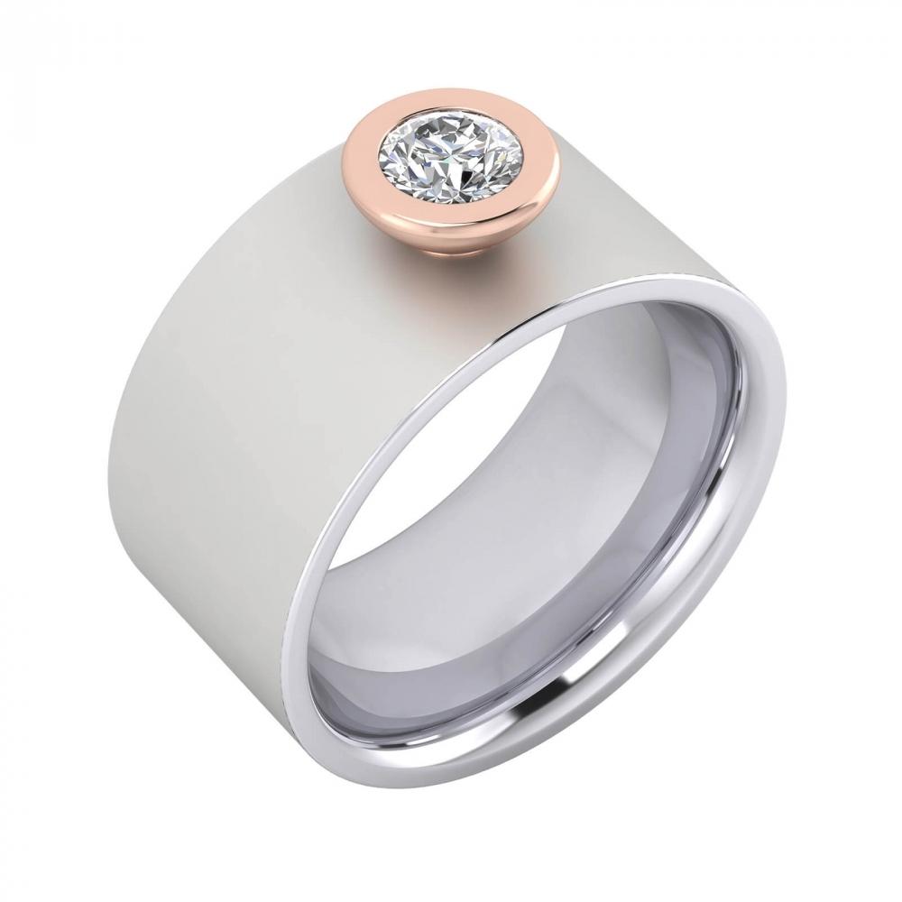 Anell de Diamants or blanc 18k amb muntura or rosa