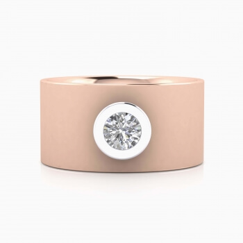 Anell de Diamants or rosa 18k amb muntura or blanc