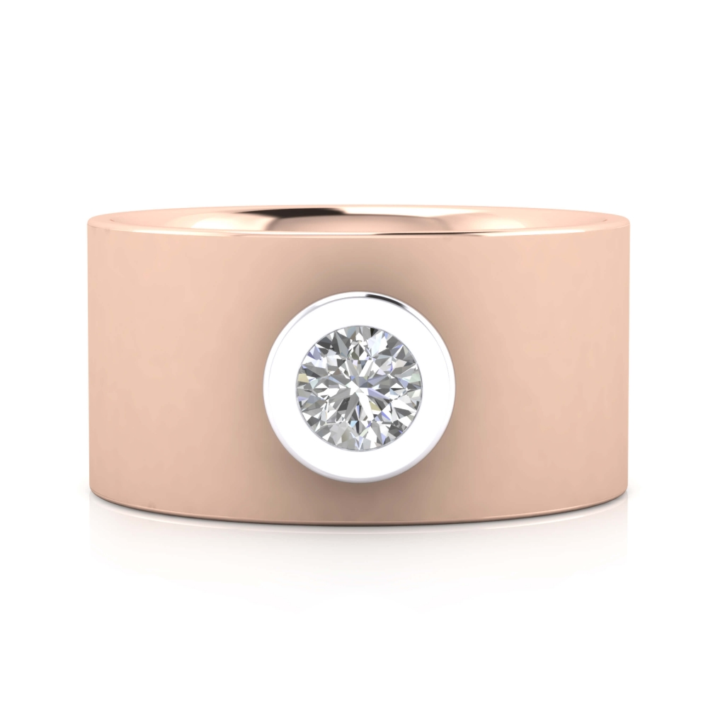 Anillo de diamante oro rosa y montura de oro blanco