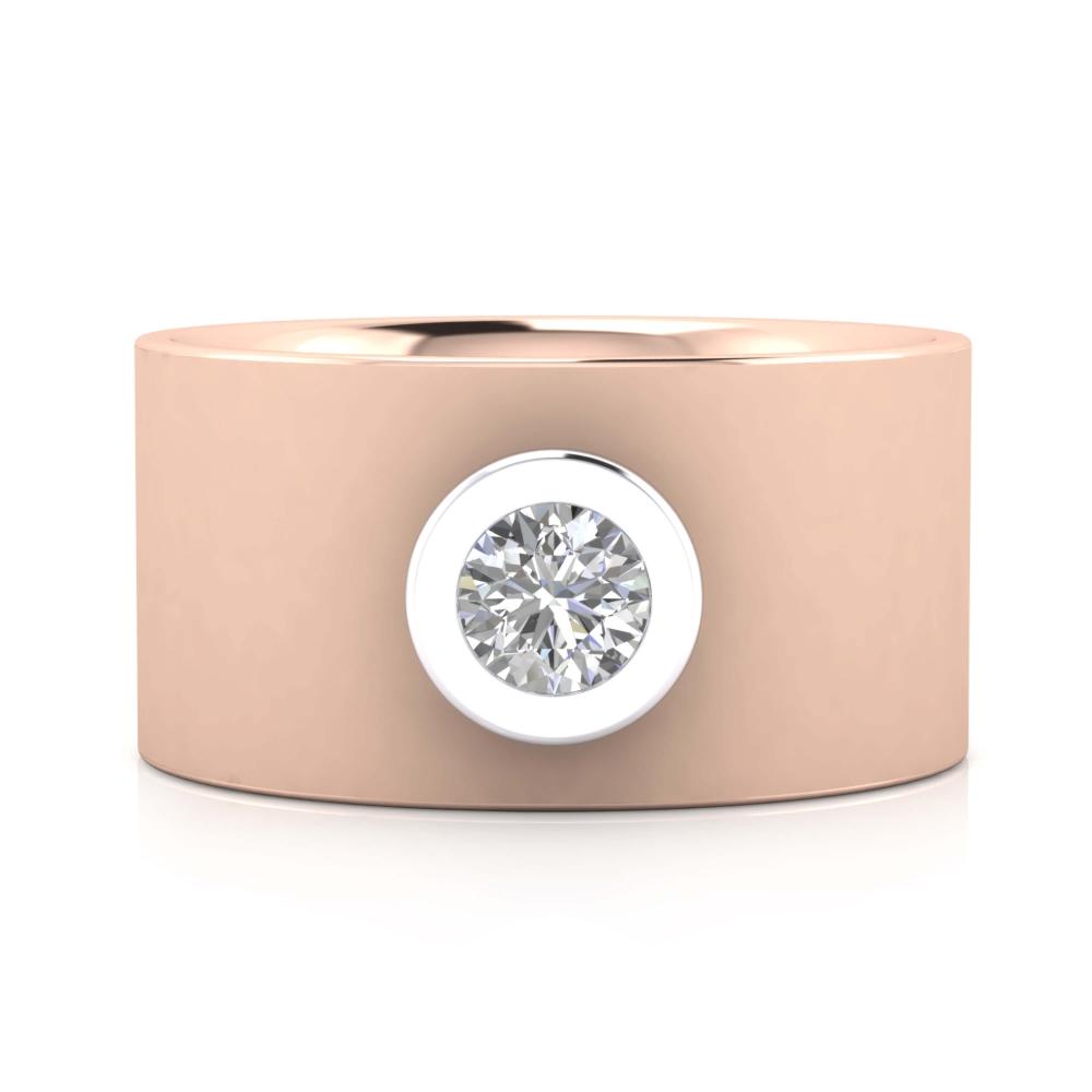 Anell de Diamants or rosa 18k amb muntura or blanc