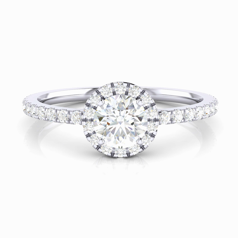 Anell amb diamant i orla de brillants