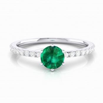 Anell amb maragda talla brillant i diamants