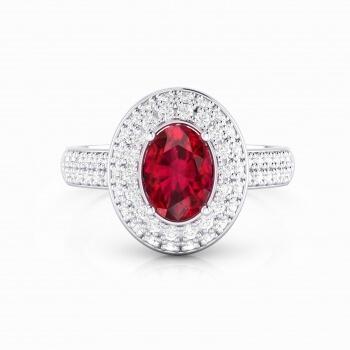 Anell d'or blanc de 18kt amb rubí i diamants