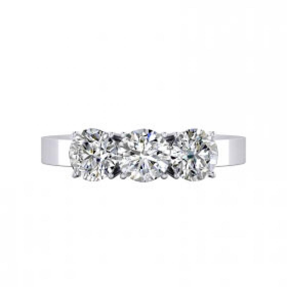 Anells en or blanc 18k amb 3 diamants