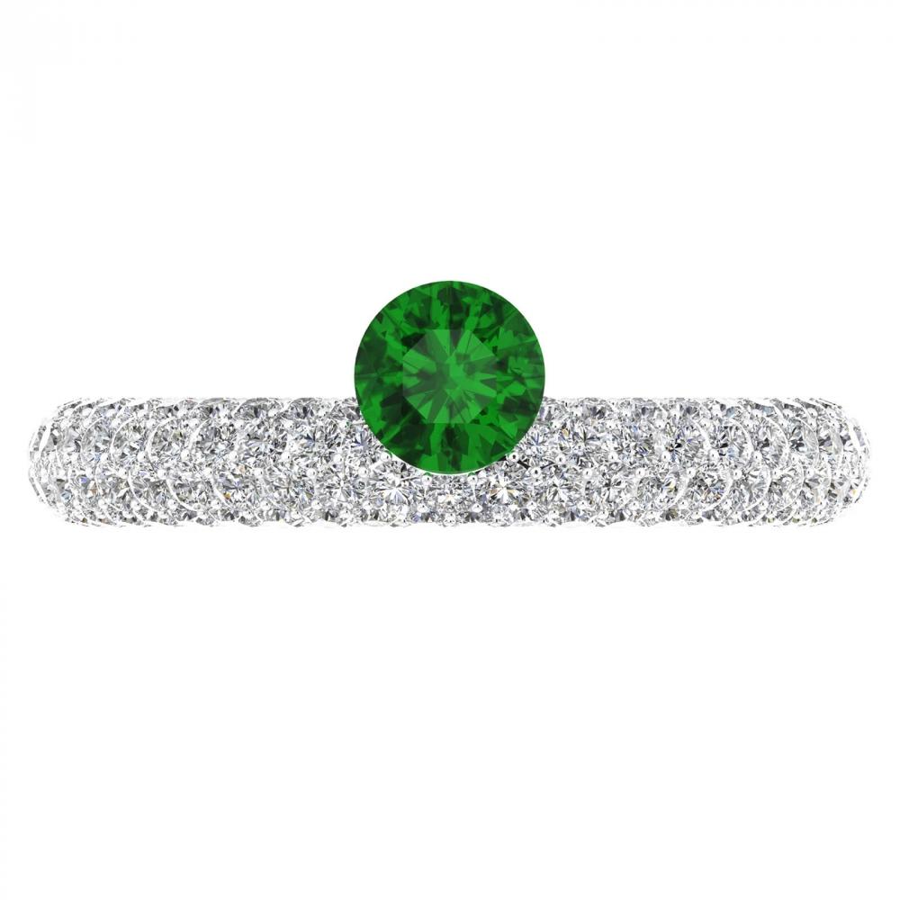 Anells de Compromís or blanc 143 diamants amb Maragda natural