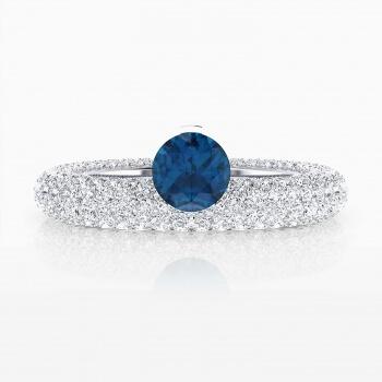 Anells de Compromís or blanc 143 diamants amb safir blau natural