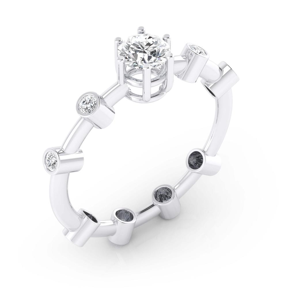 foto de perfil de anillo con 9 diamantes incrustados en oro blanco