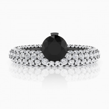 Anells de Diamants de or blanc 143 diamants amb diamant negre