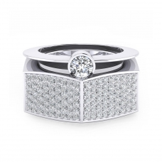 Anell en or blanc de 18k amb 190 diamants
