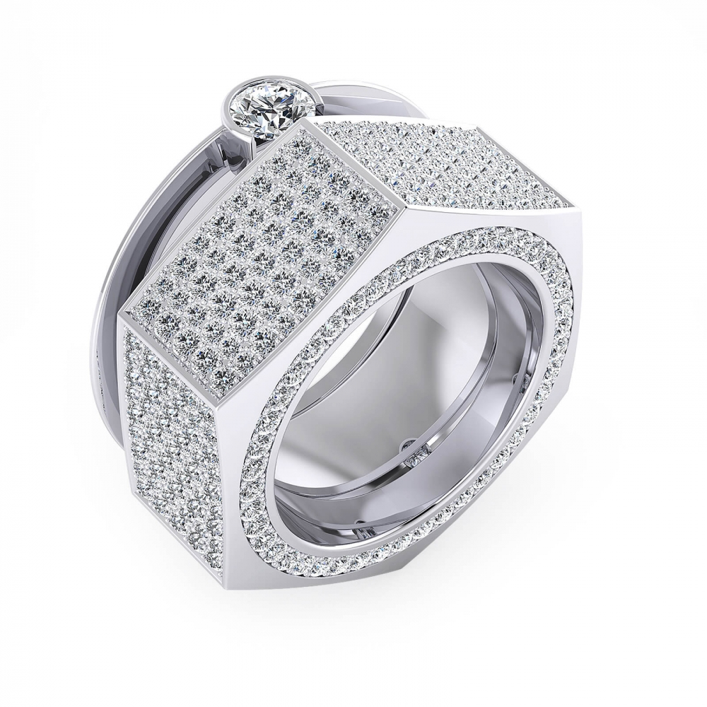 Anell en or blanc de 18k amb 190 diamants