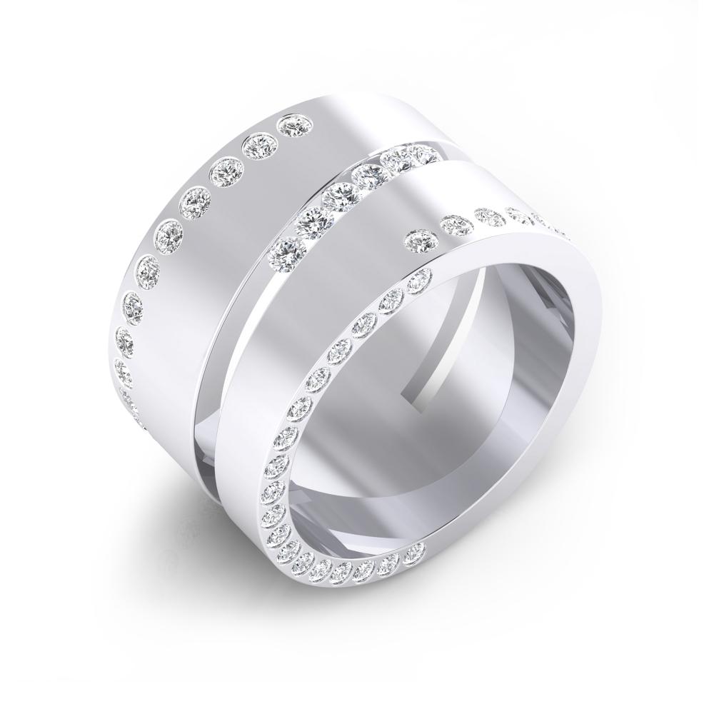 Anell de diamants or blanc 18k amb 80 diamants