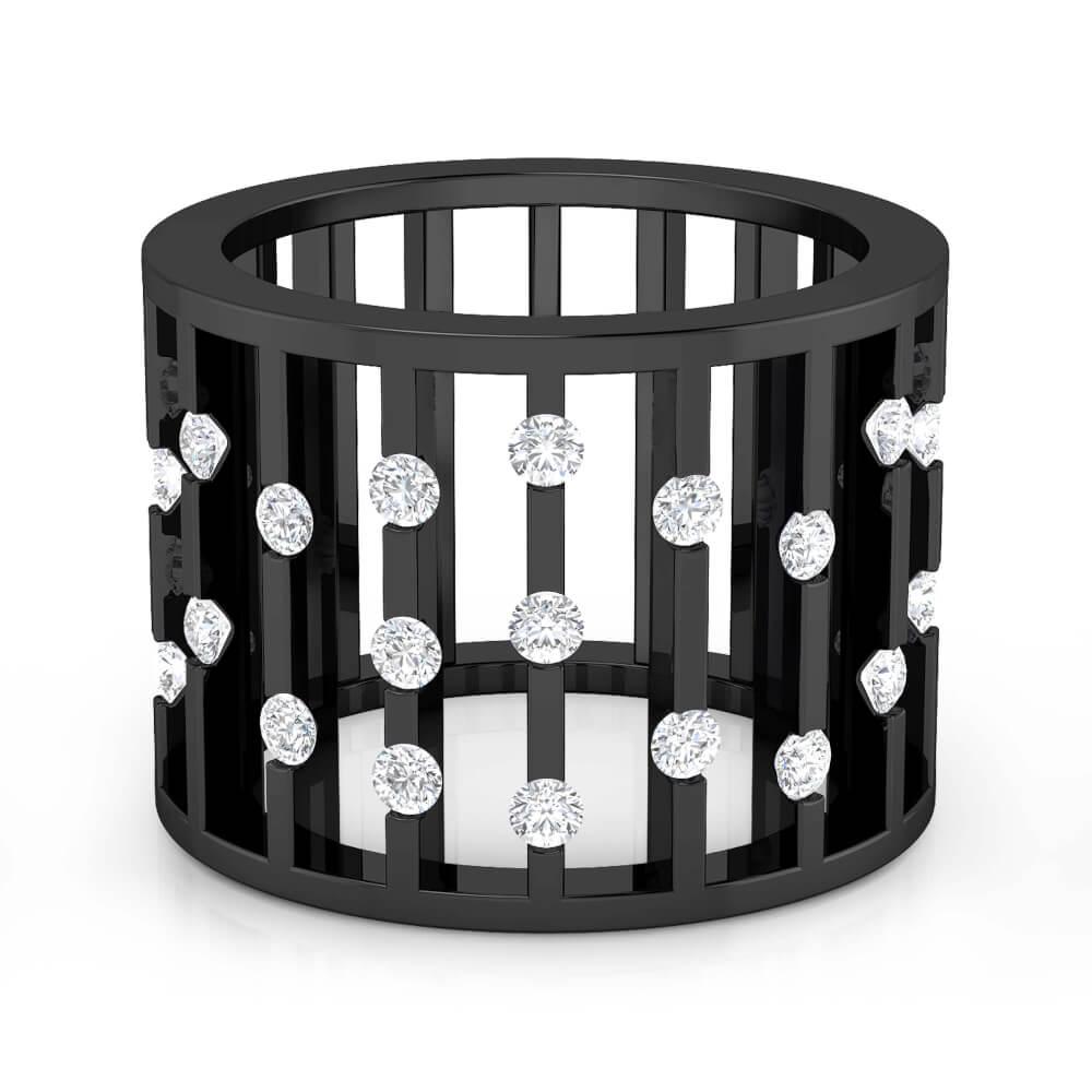 Anell de diamants or negre 18k rodi negre amb 27 diamants