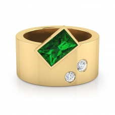 Anell de diamants or groc 18k 2 diamants amb 1 esmeralda