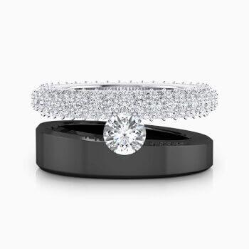 Anell de Diamants or negre i blanc 18k amb 121 diamants