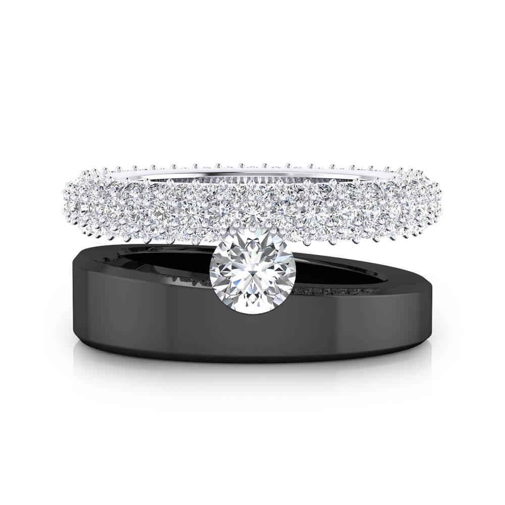 Anillo de 121 diamantes oro blanco y negro