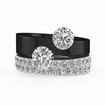 Anell de diamants en or negre i blanc amb 2 diamants centrals